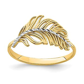 14k With White Rhodium Feather Ring  Size 7 Jewelry Gifts for Women - 1.5 Grams