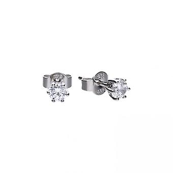 Diamonfire Silver & White Zirconia Claw Set 0.5ct Solitaire Stud Earrings