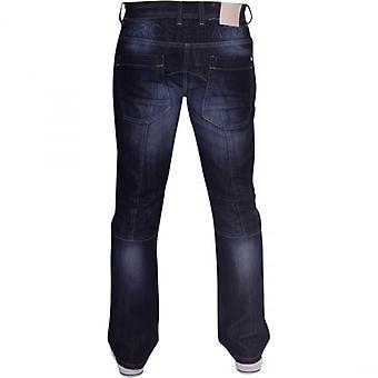 Crosshatch Mens وصفت مصمم الساق المستقيمة متعددة الجيب جينز الجينز