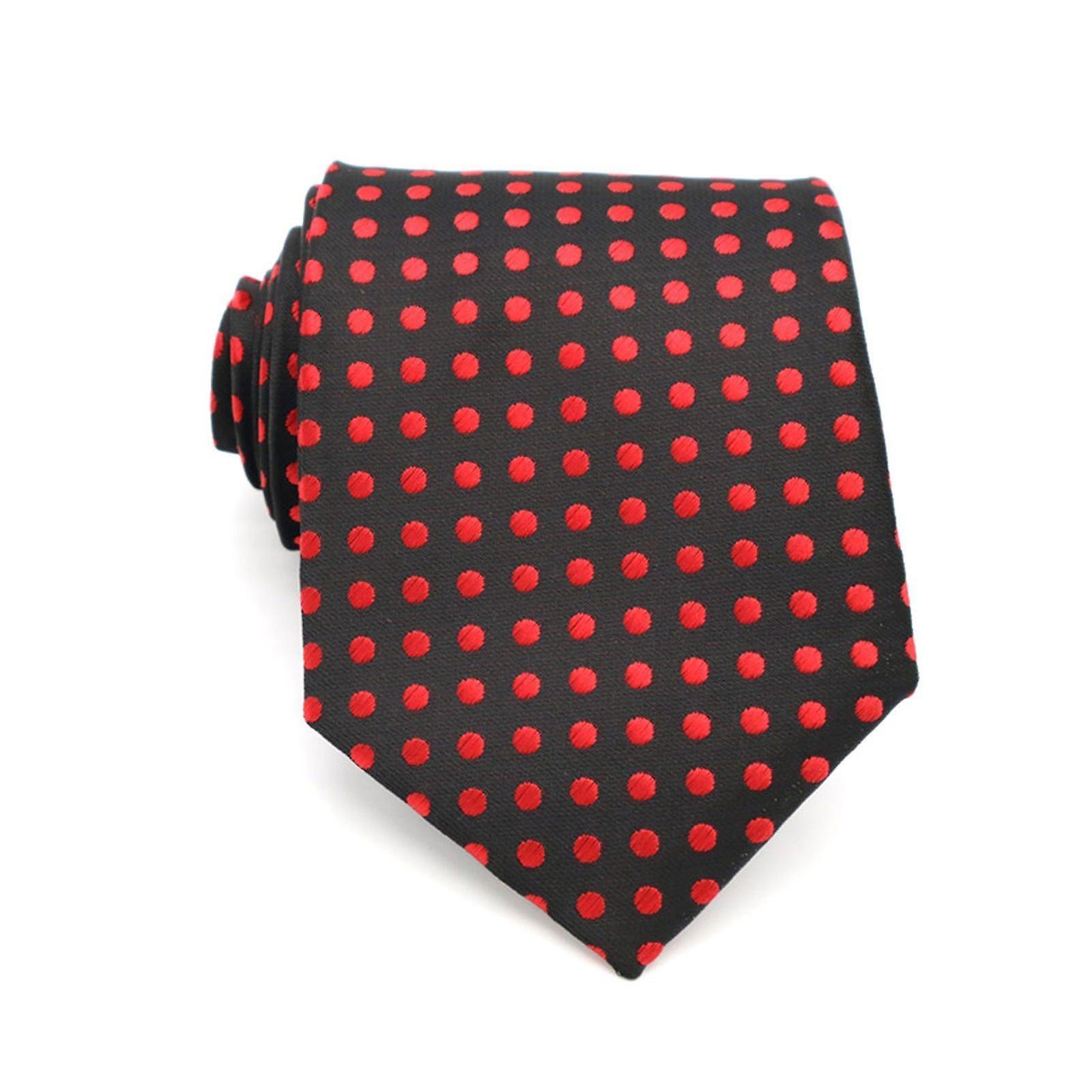 Red & black polka dot detail tie & pocket square set