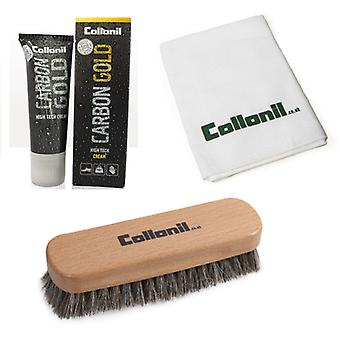 Collonil Smooth Leather Kit - Carbon Gold + Horse Hair Brush + Polishing Cloth