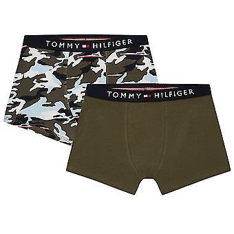 Tommy Hilfiger Boys 2 Pack Originele Katoen Boxer Trunk, Grapeleaf / Kaki, Leeftijd 14-16
