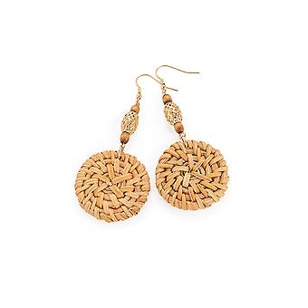 Woven Disc with Gold Cage Embellishment Earrings