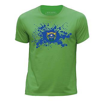 STUFF4 Chłopca rundy szyi T-shirty-Shirt / / Nevada USA państwa bandery Splat zielony