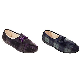 Slumberzzz Womens/Ladies Brushed Velour Checked Slippers