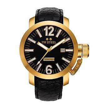 TW Steel TWA-96-unisex wristwatch, black leather strap