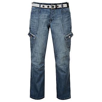 Airwalk Mens Belted Cargo Jeans