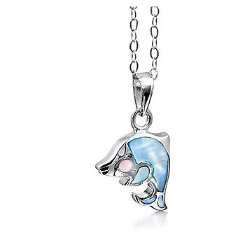 Jo For Girls Sterling Silver Mother of Pearl Dolphin Pendant Necklace 14