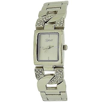 Spirit Ladies Silver Tone Square Dial Crystal Bracelet Strap Watch ASPL43