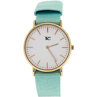 Tom Carter Ladies White Dial Rosetone Stainless Steel Mint Nylon Strap Watch