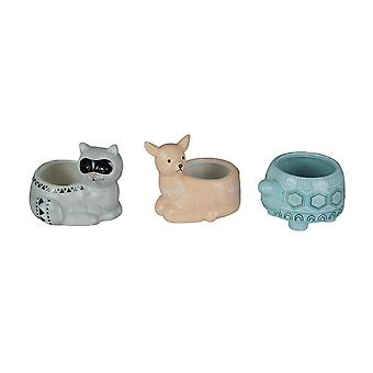 Set of 3 Forest Critters Raccoon Deer and Tortoise Dolomite Ceramic Mini Planters