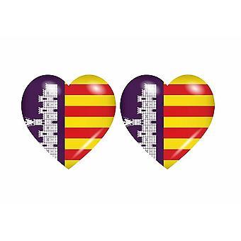 2x ملصقا ملصقا علم القلب مايوركا مايوركا