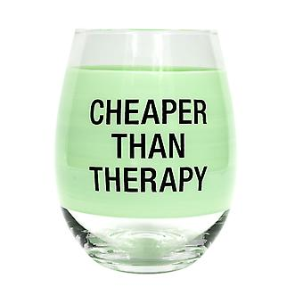 Say What Cheaper Than Therapy Wine Glass (Mint)