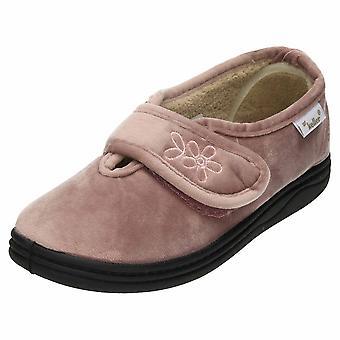 Dr Keller Pink Slip On Slipper Rip Tape House Shoes