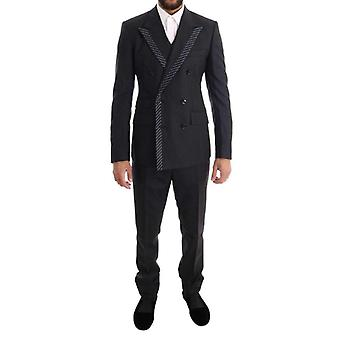 Dolce & Gabbana Gray Double Breasted 3 Piece Suit -- KOS1363632