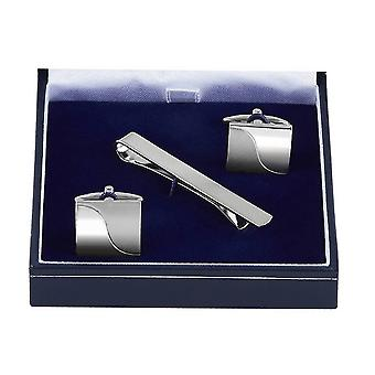 Orton West Half and Half Cufflinks and Tie Bar Set - Silver