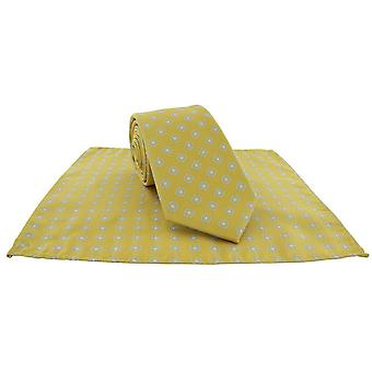 Michelsons of London Outline Neat Tie and Pocket Square Set - Yellow