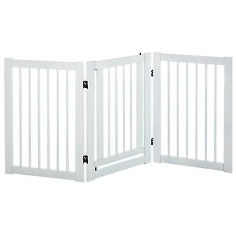 PawHut 155cm Expandable 3-Panel Freestanding Dog Pet Gate MDF Frame w/ Latched Door Security Gate Home Folding White