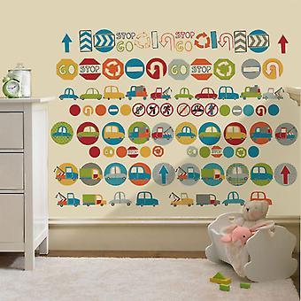 Ready Steady Bed Road Signs Design Children-apos;s Autocollants murables amovibles et repositionnables Pépinière D cor Decal Art