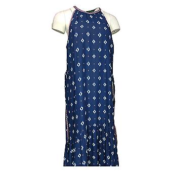 C. Wonder Dress Border Print Halter w/ Embroidered Belt Blue A277346