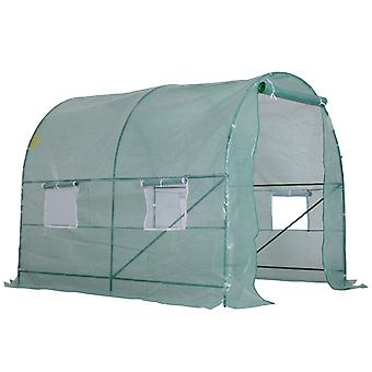 Outsunny Reinforced Walk In Polytunnel Greenhouse with Steel Frame and Zipped Door Windows (2.5 x 2M)