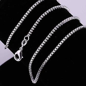 Silkeagtig sølv boks link kæde halskæde 18, 20 eller 22 inches