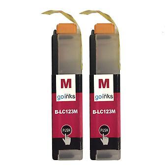 2 cartouches d'encre Magenta pour remplacer Brother LC123M Compatible/non-OEM par Go Inks