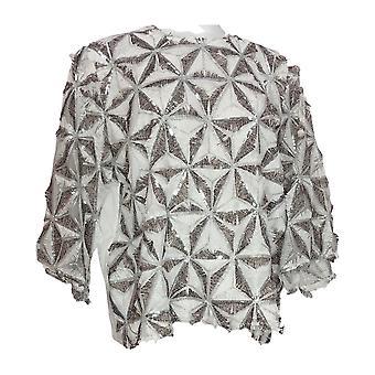 Masseys Women's Plus Top Patterned Sequin Eyelash White / Silver