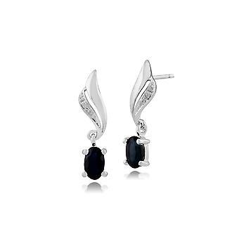 Classic Oval Sapphire & Diamond Twist Drop Earrings in 9ct White Gold 117E0105049