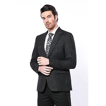 Peak lapel patterned black blazer