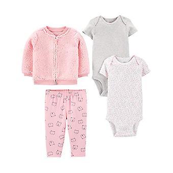 Simple Joys by Carter's Girls' 4-Piece Jacket, Pant, and Bodysuit Set, Pink C...
