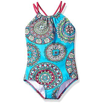 Kanu Surf Big Girls' Jasmine Beach Sport Halter One Piece Swimsuit, Aqua, 10