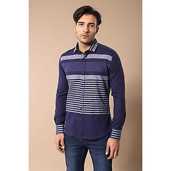 Camicia a righe blu navy men's wessi
