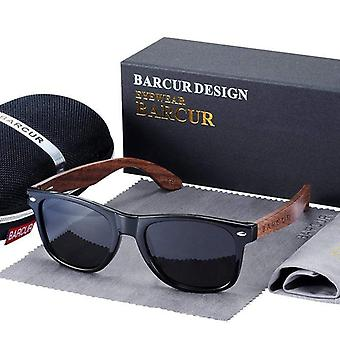 Barcur - full wood gloss black frame sunglasses