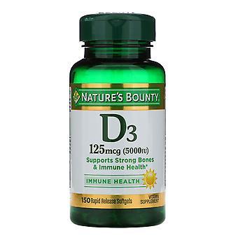 Nature's Bounty, D3, Immune Health, 125 mcg (5,000 IU), 150 Rapid Release Softge