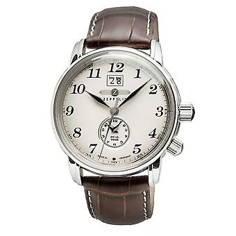 Zeppelin 7644-5 LZ127 Graf Beige Dial Dual Time Wristwatch