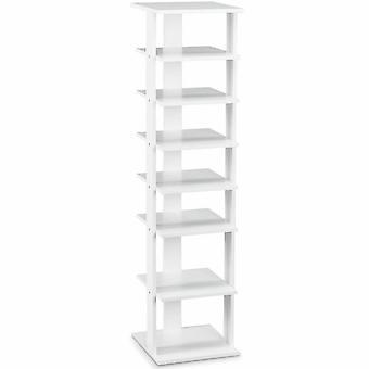 7-Tier Wood Shoe Rack Stand Storage Organiser Shelf Space Saving Unit White