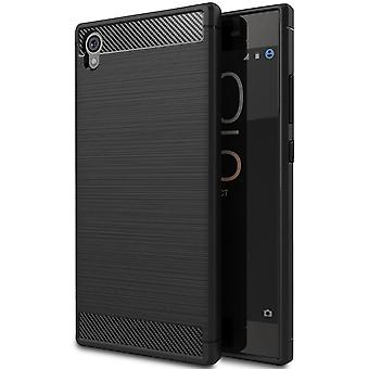 Carbon Fiber Shell pour Sony Xperia L1 Mobile Shell Protection Armor Rubber Phone Solid Color