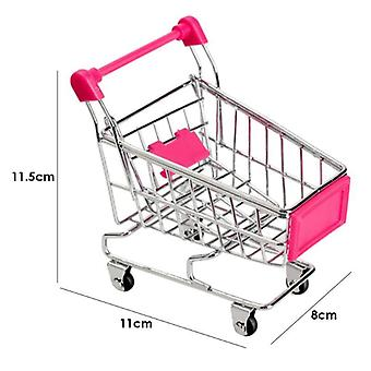 Mini Shopping Cart Decor Handcart Storage Baby Hand Supermarket Hand Trolley Toy- Gift Dollhouse Furniture Ornaments