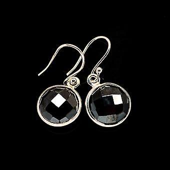 "Musta Onyx korvakorut 1 1/8"" (925 Sterling Hopea) - Käsintehty Boho Vintage Korut EARR405660"