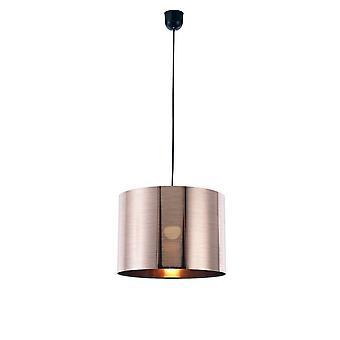 Pendentif plafond noir 1 Lumière E27 avec 350 x 250mm Métallic Copper Cylinder Shade, c, w Support de plafond