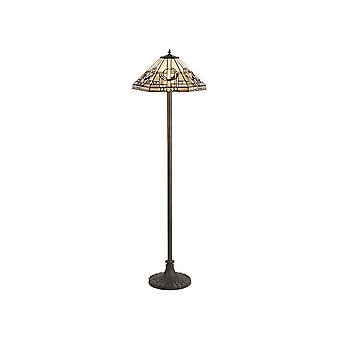 2 Light Stepped Design Floor Lamp E27 With 40cm Tiffany Shade, White, Grey, Black, Clear Crystal, Aged Antique Brass