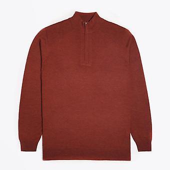 Thomas Maine  - Merino Half Zip Sweater - Burnt Orange