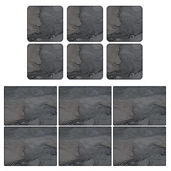 Pimpernel Midnight Slate Design Placemats and Coasters Set of 6