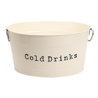 Industrial Cold Drinks Bucket - Large Vintage Style Steel Party Cooler Tub - Side Handles - Cream