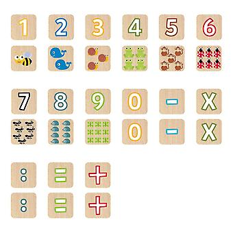 Faujas Seek'O Building Blocks Numbers and Animals Wooden Cubes 52pcs (BA6007)
