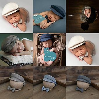 Newborn Baby Hat Costume Little Gentleman Bow Tie Photography Props Studio