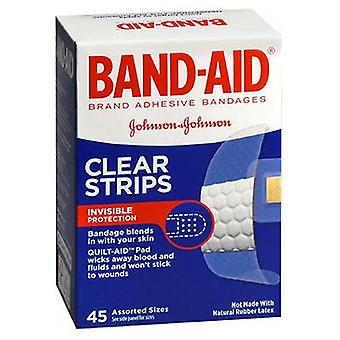 Band-Aid Clear Adhesive Comfort-Flex Bandages Assorted, 45 each