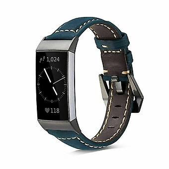 for Fitbit Charge 4 & Charge 3 Band Genuine Luxury Leather Replacement Wristband[Blue]