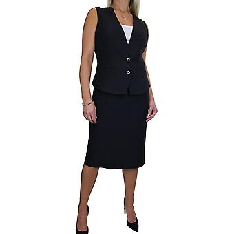 Women's Dressy Waistcoat Skirt Suit Ladies Lined Work Vest Coat Pencil Skirt Office Business Uniform 10-20